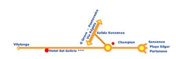Plano de acceso de Hotel Sun Galicia