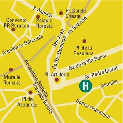 Plano de acceso de Hotel Eurostars Plaza Acueducto