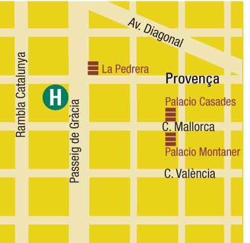 Plano de acceso de Hotel Alexandra Barcelona