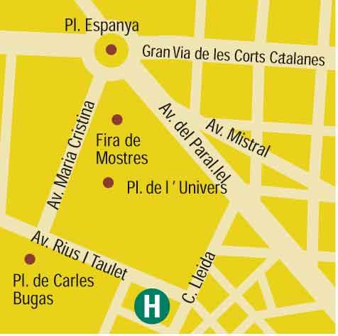 Plano de acceso de Hotel Fira Palace