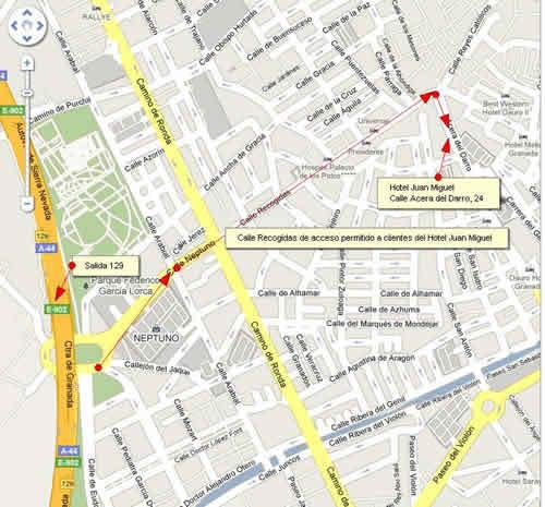 Plano de acceso de Hotel Juan Miguel