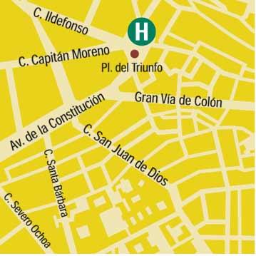 Plano de acceso de Hotel Triunfo Granada