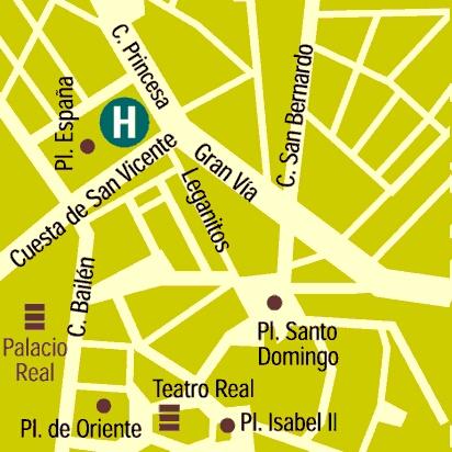 Plano de acceso de Espahotel Plaza De España