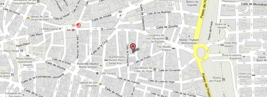 Plano de acceso de Hotel Suite Prado