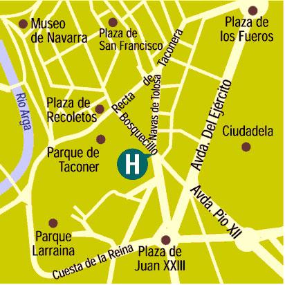 Plano de acceso de Hotel Tres Reyes-Iruña Palace