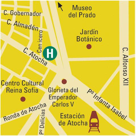 Plano de acceso de Hotel Husa Paseo Del Arte