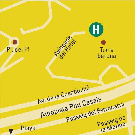 Plano de acceso de Gran Hotel Rey Don Jaime