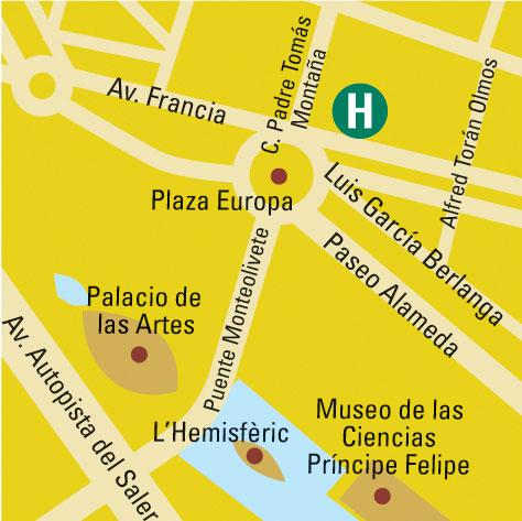 Plano de acceso de Hotel Barcelo Valencia