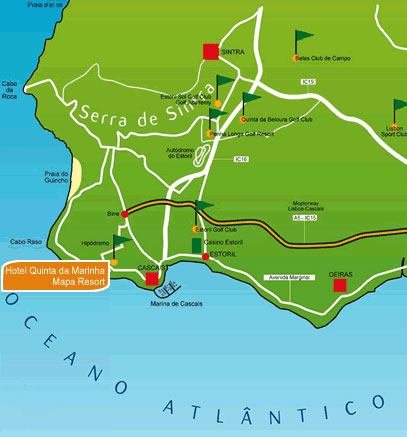 Plano de acceso de Hotel Quinta Da Marinha Resort