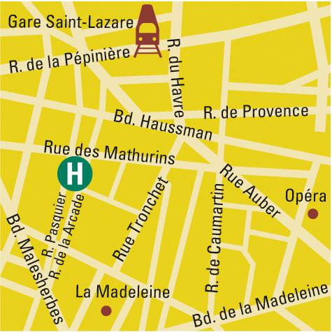 Plano de acceso de Hotel Le Mathurin (75008)