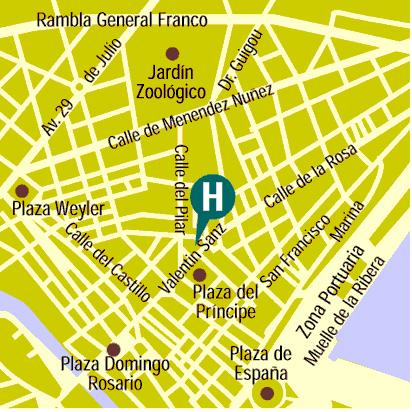 Plano de acceso de Hotel Principe Paz