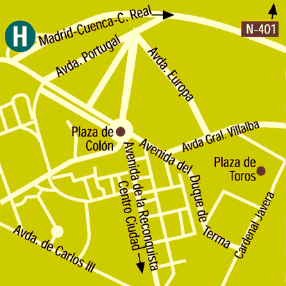 Plano de acceso de Hotel Beatriz Toledo