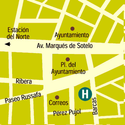 Plano de acceso de Hotel Husa Reina Victoria