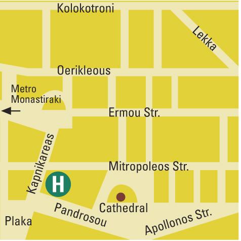 Plano de acceso de Plaka Hotel