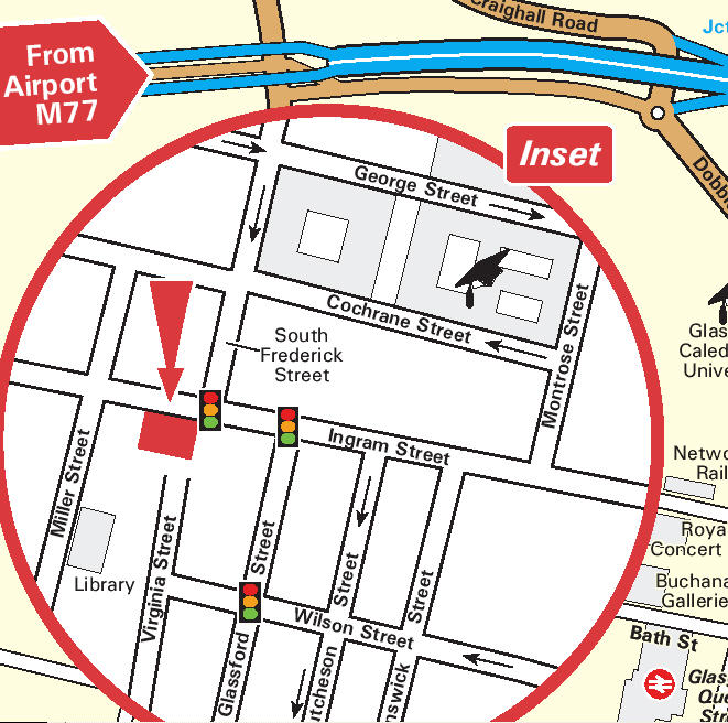 Plano de acceso de Mercure Glasgow City Hotel