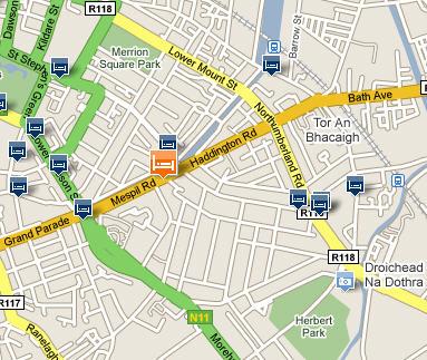 Plano de acceso de Mespil Hotel