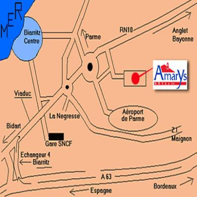 Plano de acceso de Amarys Interhotel Biarritz