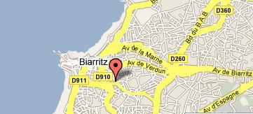 Plano de acceso de Hotel Tulip Inn Biarritz Louisiane
