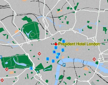 Plano de acceso de President Hotel