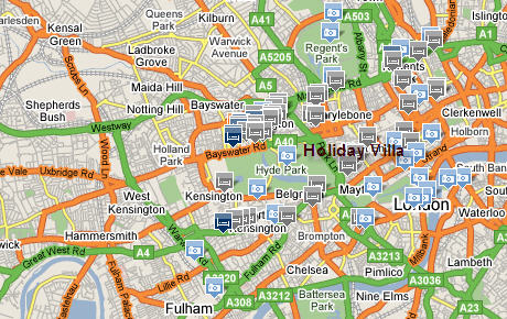 Plano de acceso de Holiday Villa Hotel
