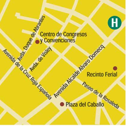 Plano de acceso de Jerez Hotel And Spa