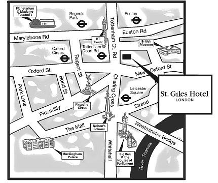 Plano de acceso de St Giles Hotel