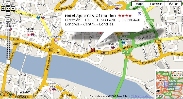 Plano de acceso de Hotel Apex City Of London