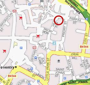 Plano de acceso de Hotel Britannia Coventry
