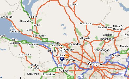 Plano de acceso de Normandy Hotel Glasgow