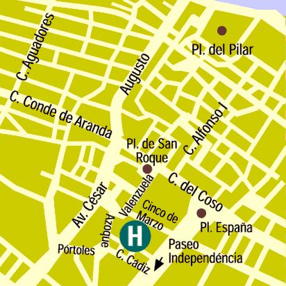 Plano de acceso de Hotel Goya