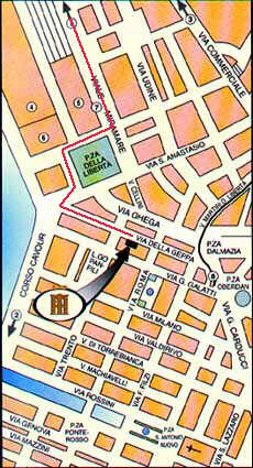 Plano de acceso de Italia Hotel