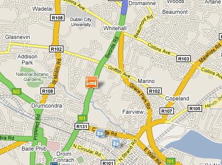 Plano de acceso de Hotel Best Western Dublin Skylon