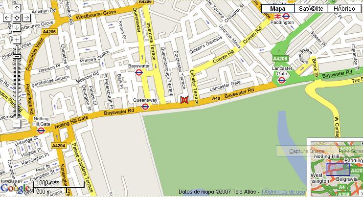 Plano de acceso de Hotel Thistle Kensington Gardens