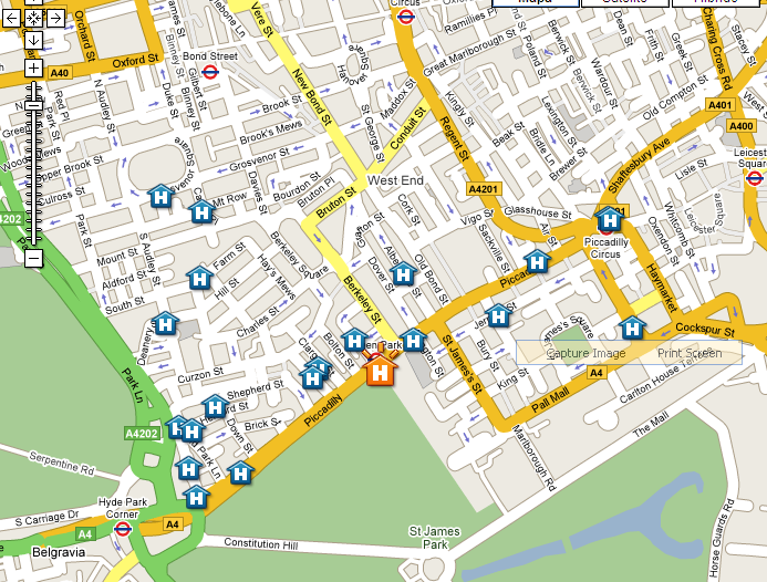 Plano de acceso de Hotel Sheraton Park Lane