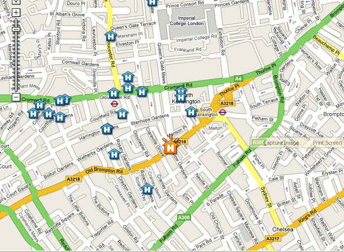 Plano de acceso de The Kensington Hotel
