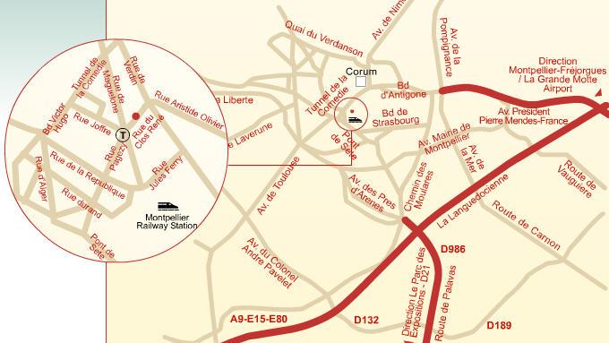 Plano de acceso de Hotel Holiday Inn Montpellier