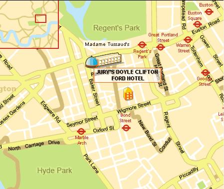 Plano de acceso de Marylebone Hotel