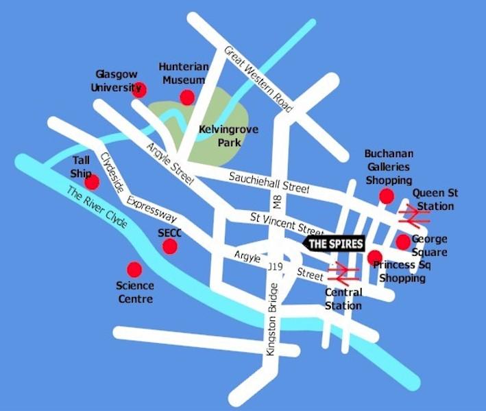 Plano de acceso de Spires Apartments Glasgow