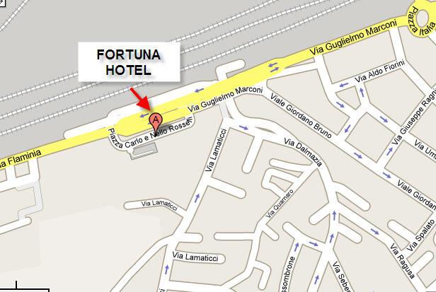 Plano de acceso de Fortuna Hotel