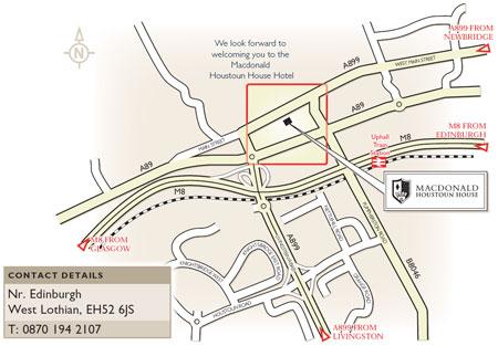 Plano de acceso de Hotel Macdonald Houstoun House