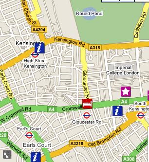 Plano de acceso de Hotel Crowne Plaza Kensington (Hi Kensington)