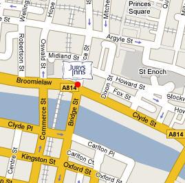 Plano de acceso de Hotel Jury's Inn Glasgow