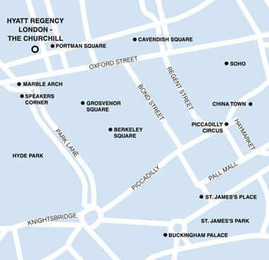 Plano de acceso de Hotel Hyatt Regency The Churchill London