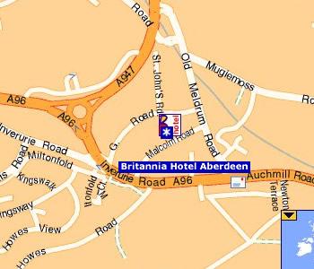Plano de acceso de Hotel Britannia Aberdeen