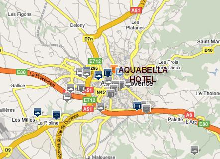 Plano de acceso de Aquabella Hotel