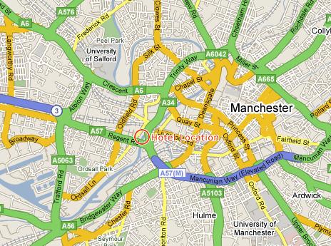 Plano de acceso de Hotel Campanile Manchester