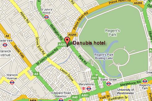 Plano de acceso de Danubius Hotel Regents Park