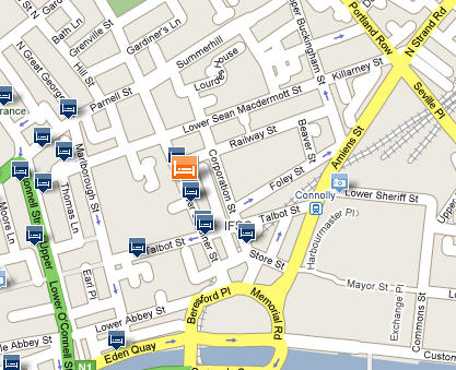 Plano de acceso de My Place Hotel Dublin (Formerly Browns)