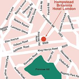 Plano de acceso de Britannia Hotel Hampstead