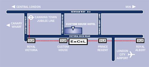 Plano de acceso de Custom House Hotel